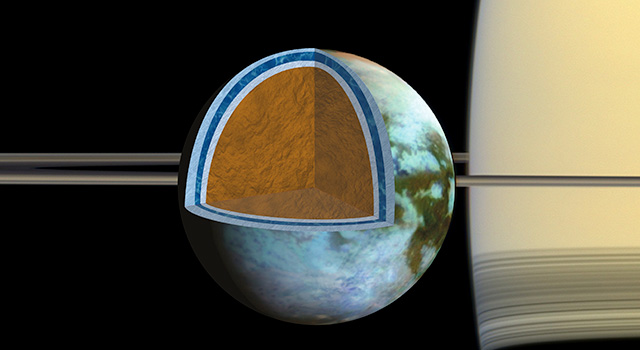 Researchers found that Titan's ice shell, which overlies a very salty ocean