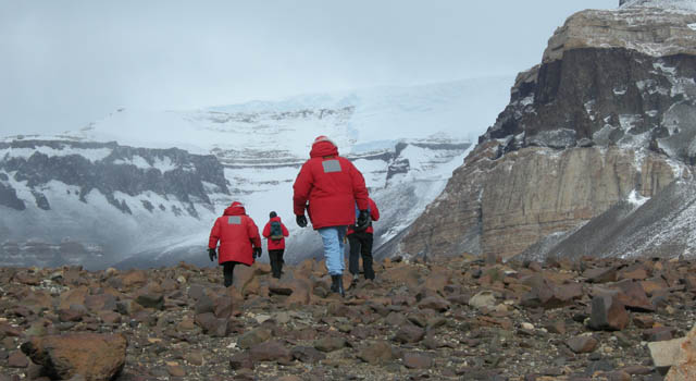 researchers trek through Antarctica's Beacon Valley