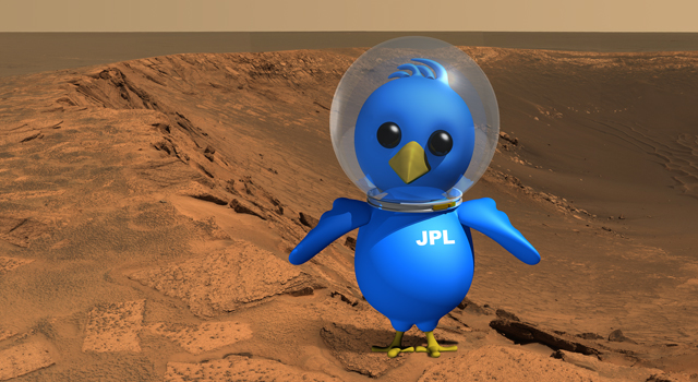 This artist's concept of an astronaut bird on Mars illustrates the space enthusiast community on Twitter.