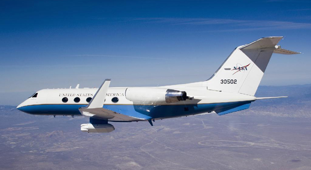 UAVSAR pod is carried on the underbelly of NASA's Gulfstream-III research aircraft