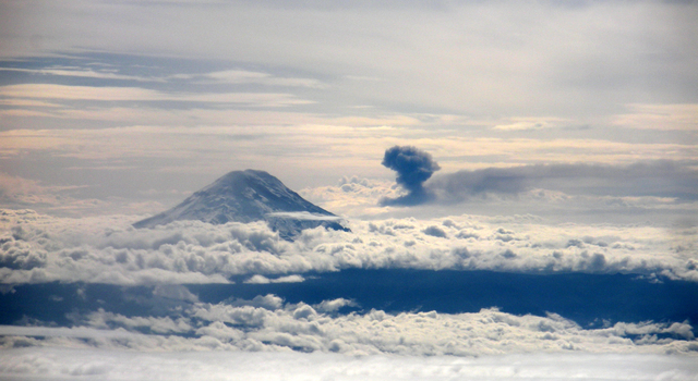 An ash cloud from an eruption of the Tungurahua volcano in Ecuador