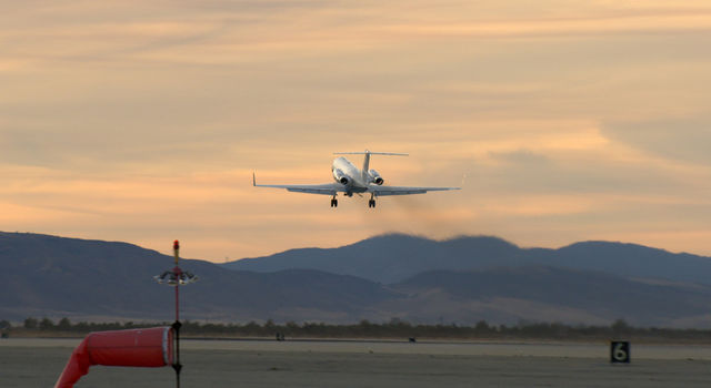 NASA's C-20 aircraft takes off from NASA's Armstrong Flight Research Center