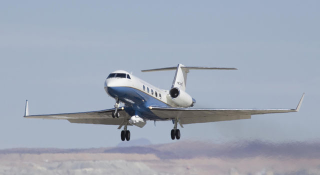 NASA's C-20A research aircraft takes off with the UAVSAR instrument