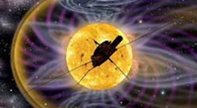artist's concept of Ulysses spacecraft orbiting Sun
