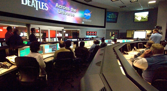 Mission control room at NASA's Jet Propulsion Laboratory