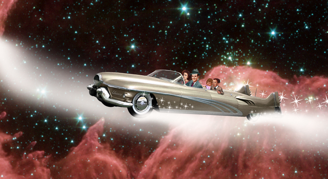 Artist's concept of a family road trip through the universe