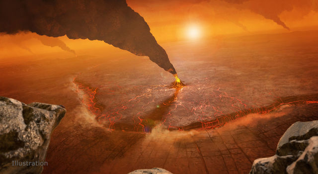 An artist's concept of active volcanos on Venus