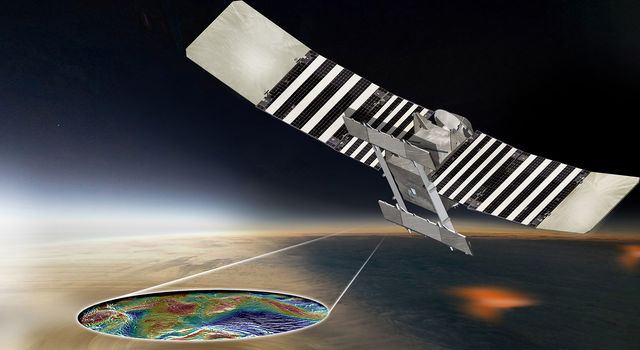 This artist's concept shows the proposed VERITAS spacecraft using its radar