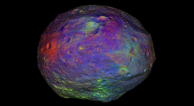 These infrared and visible light images have been combined and represented in colors that highlight the nature of the minerals on Vesta's surface