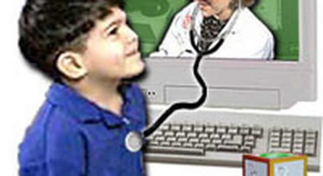 An artist's concept illustrating virtual pediatrics.