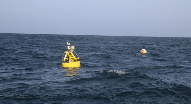 A buoy marks the West End CP mooring site south of Dauphin Island, Alabama, in the Gulf of Mexico