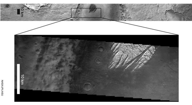 White Rock' feature on Mars in both infrared (left) and visible (right) wavelengths