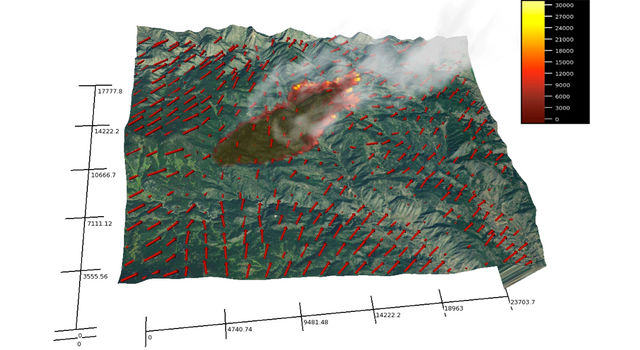 A simulation of a Colorado wildfire