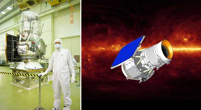 WISE Project Scientist Peter Eisenhardt stands next to the fully assembled WISE satellite