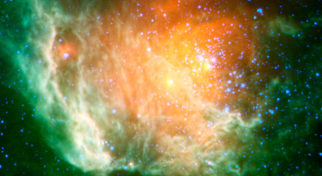 A new infrared image from NASA's Wide-field Infrared Survey Explorer, or WISE, shows a cosmic rosebud blossoming with new stars.