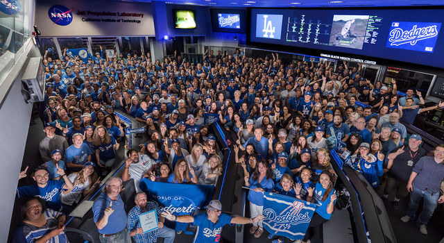 JPL baseball fans sported Dodger blue for a quick photo in mission control