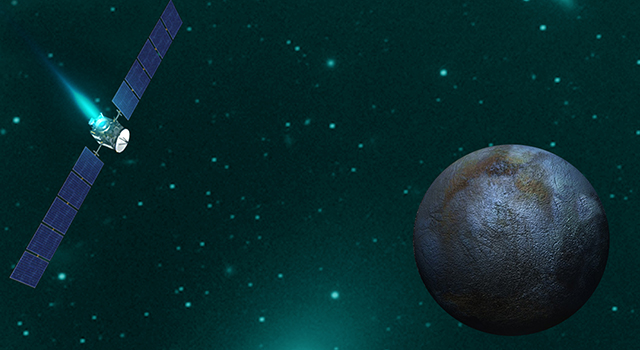 Artist concept of NASA's Dawn spacecraft orbiting Ceres during an upcoming flyby.