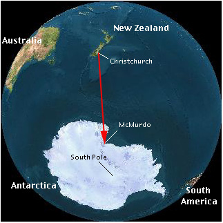 Flight path from Christchurch, NZ to McMurdo Station