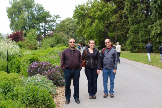 My friends Eric and Valerie, and my colleague Craig (also ice bound) in a park in Christchurch.