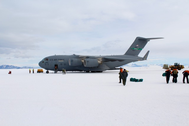 The C-17 after landing at Pegasus Field in Antarctica