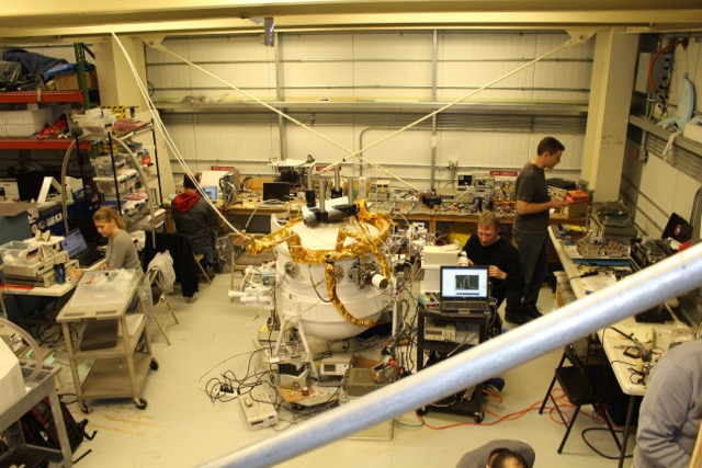 Working on the STO-2 instrument inside the hangar at LDB