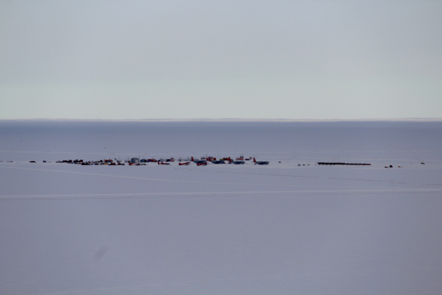 A view of Willy Field on the drive between McMurdo Station and Scott Base en route to the Pressure Ridge Tour
