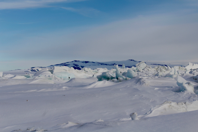 A first view of the pressure ridges between the Ross Sea Ice and the Ross Permanent Ice Shelf