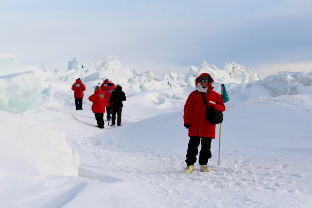 Me walking around the pressure ridges between the Ross Sea Ice and the Ross Permanent Ice Shelf