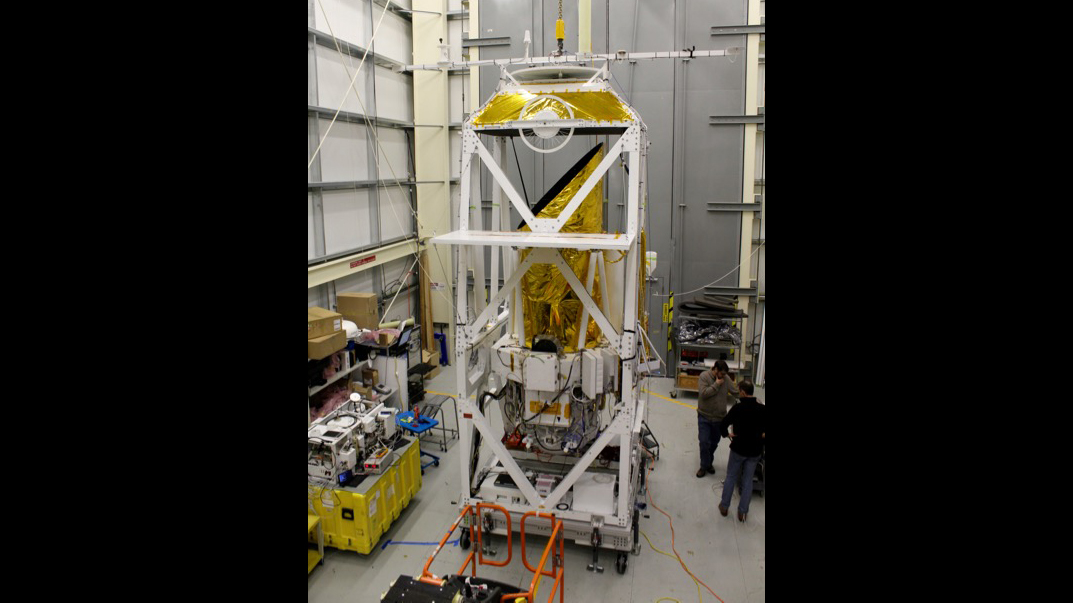 STO-2 instrument integrated with the STO-2 telescope and gondola.