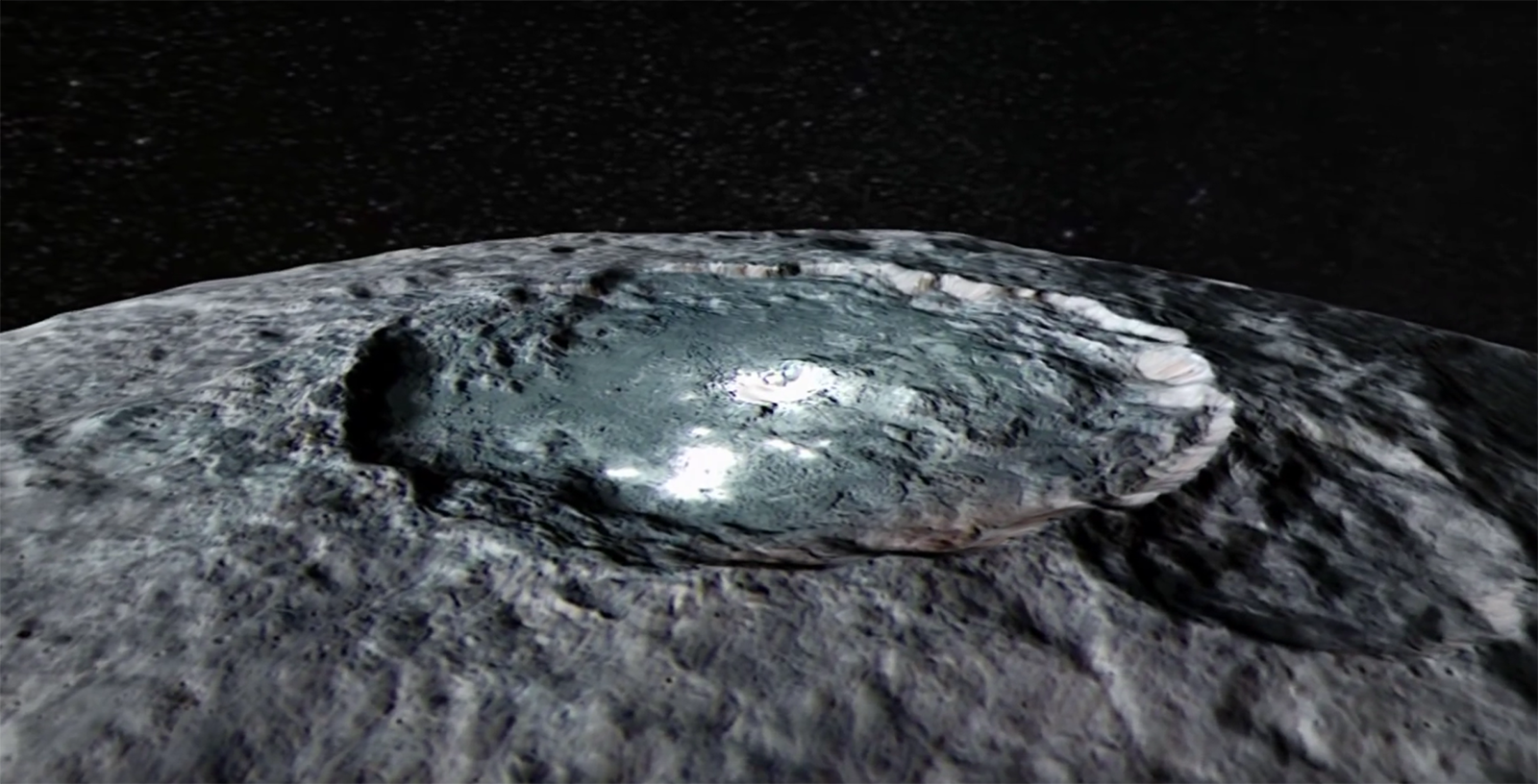 Animated flight over dwarf planet Ceres