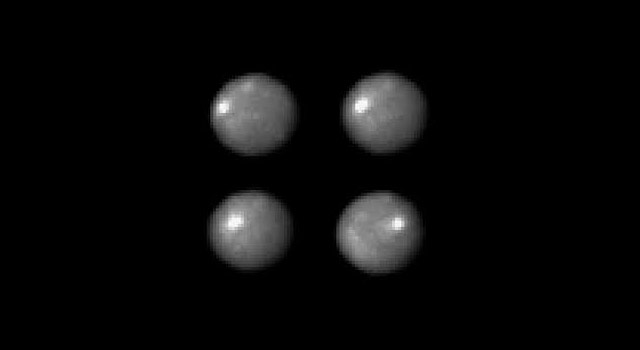 Four views of Ceres as it rotates, as seen with Hubble Space Telescope,
