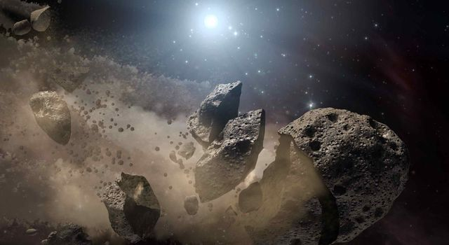 Illustration of an asteroid breaking up