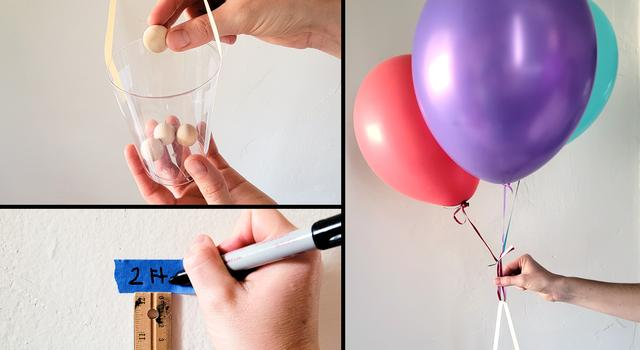 A collage of images shows a person dropping a wooden bead into a cup, writing a measurement on painters tape stuck to the wall, and holding their balloon and gondola system in preparation for launch.