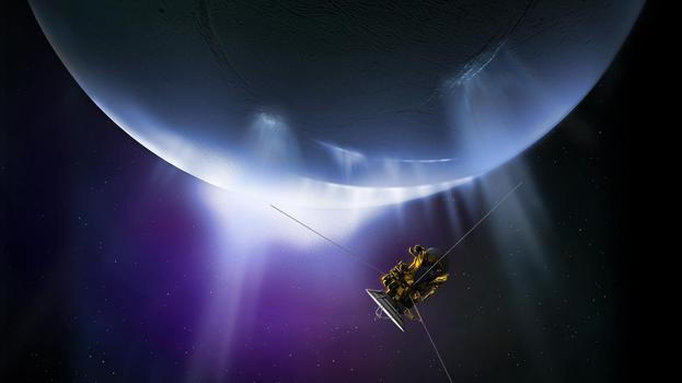 Illustration of NASA's Cassini spacecraft flying through the plume on Saturn's moon Enceladus