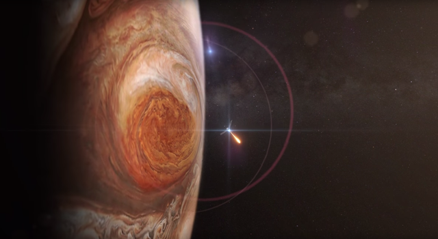 Artist concept showing Juno at Jupiter