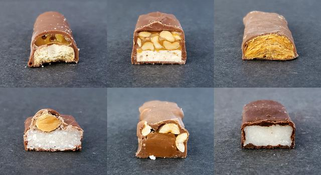 "Cross sections of candy bar ""rock samples"""