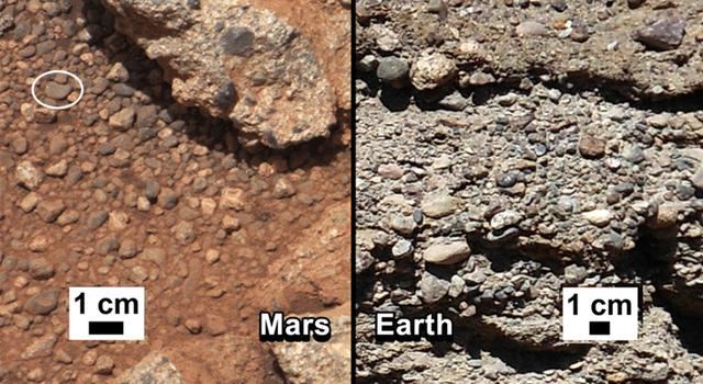 Mars outcropping compared with one on Earth