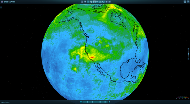Screengrab from NASA's Eyes on the Earth showing carbon monoxide concentrations in the US