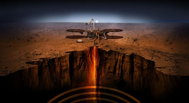 An artist illustration of the InSight lander on Mars. Image credit: NASA/JPL-Caltech