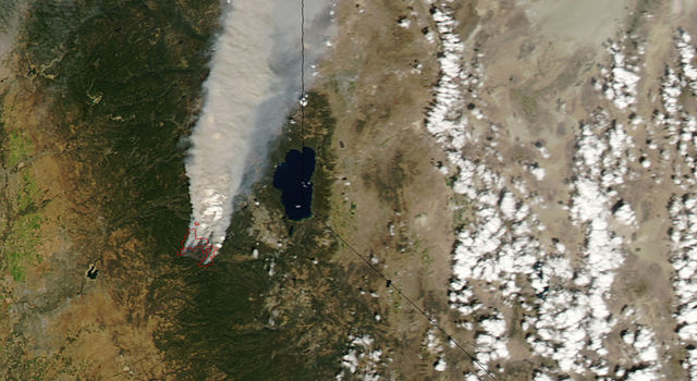 The King Fire viewed from NASA's Aqua satellite, September 17, 2014