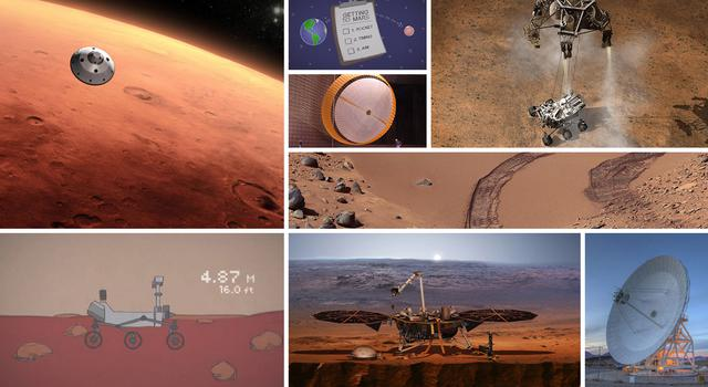 Collage of images and graphics of Mars and Mars missions