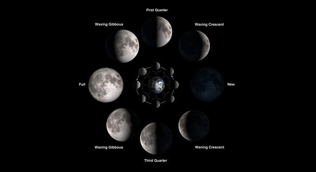 Phases of the Moon labeled