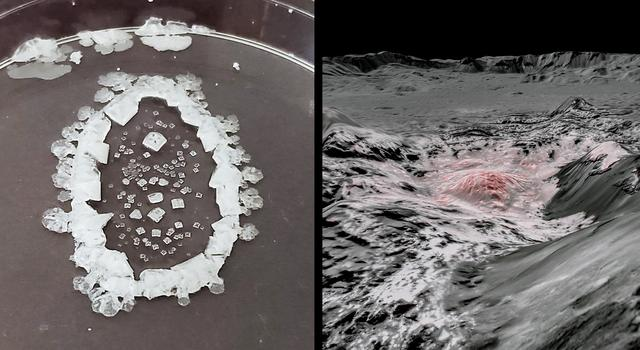 Side-by-side images showing a dried table salt solution and a close-up view of salt deposits on the dwarf planet Ceres