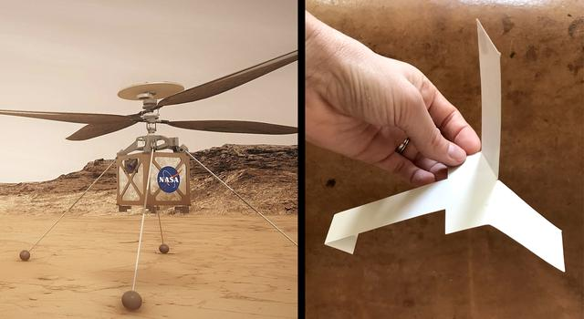 Graphic of the Ingenuity Mars helicopter next to a photo of a paper helicopter