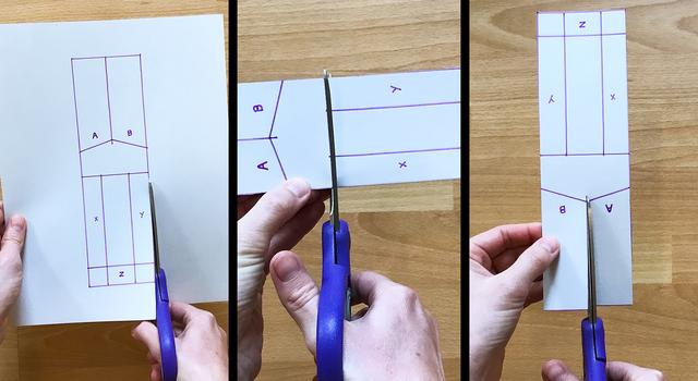 Collage of images showing a person cutting the dashed lines on the paper helicopter template