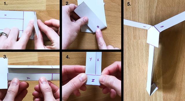Collage of images showing a person folding the solid lines of the paper helicopter template