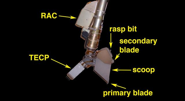 Tools on the end of the Mars Phoenix arm