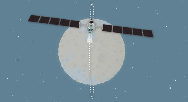 Pixel Puzzler, Pi in the Sky Math Problem – Illustration of NASA's Dawn spacecraft orbiting Ceres