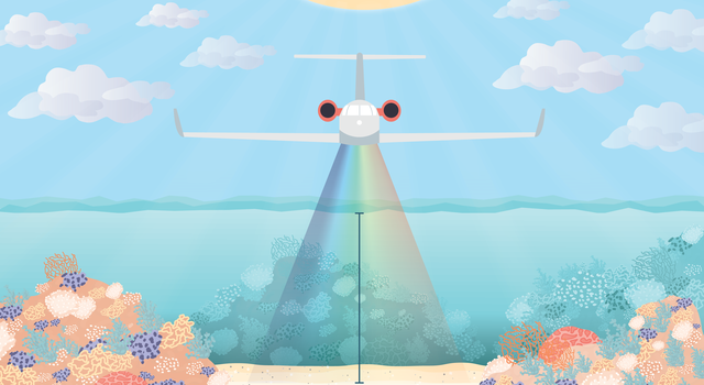 Illustration of an airplane flying over the ocean with coral shown below the water's surface. A spectral ray expands from the airplane down to the ocean floor