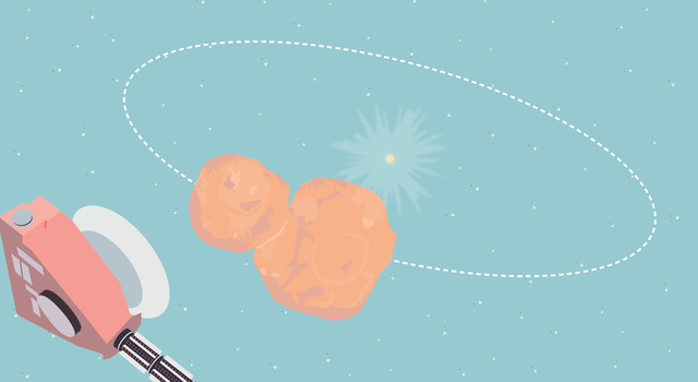 Illustration of Arrokoth orbiting the Sun with New Horizons flying by.